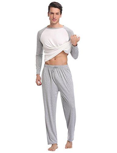 Aibrou Pyjama Homme Hiver Coton Ensemble Pyjamas Chauds Homme Manche Longue Col Rond Ensemble de Literie Deux Parties Bleu/Gris