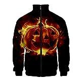 SMILEQ Herren Halloween Print Zipper Sportswear Langarm Mantel Jacke Outwear -