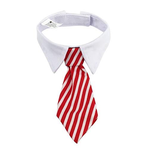 BigBig Style Corbata de Raya para Mascotas Mascotas Corbata Formal Corbata Ajustable para Mascotas Perro Cachorro de Perro con Cuello Blanco (Color : Red+White, Size : S)