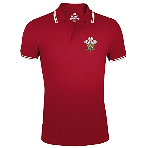 Poloshirt / T-Shirt Wales mit TryBull Rugby-Emblem, Herren, Federn, bestickt, 6 Nations, Rot / Weiß, rot, WAL-TR11-POLO-RED-MENS-XL (Bestickt Rugby-shirts)