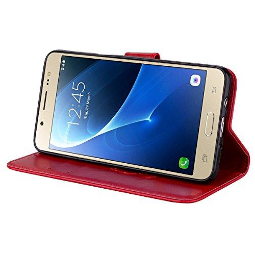 Coque Samsung J5 (2016) Anfire Fleur Motif Peint Mode Coque PU Cuir pour Galaxy J5 (2016) Etui Case Protection Portefeuille Rabat Étui Coque Housse pour Samsung Galaxy J5 (2016) / SM-J510FN (5.2 pouce Rouge
