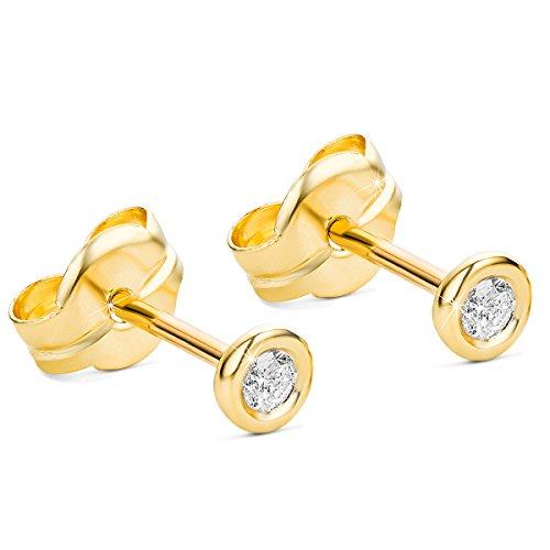 Orovi Ohrstecker Ohrringe Set ,Damen GelbGold Ohrstecker mit Diamant 9Karat (375) Brillanten - Diamant-ohrstecker Ohrringe