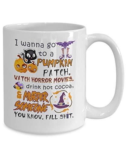 Andrea1Oliver Ich m?chte zu Einem K¨¹rbis-Fleckenuhr-Horrorfilm gehen, der jemand lustige Kaffeetassen ermordet. Beste Halloween-Kost¨¹me Stellen Geschenkidee f¨¹r die Frauen der M?nner EIN