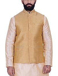 Kisah Gold Jute Jaquard Men's Waistcoat