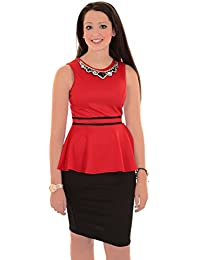 b5668e3418 ZAFIRO BOUTIQUE Mujer Collar De Diamantes Imitación Ceñido Sin Mangas Peplo  Fiesta Noche Vestido Contraste