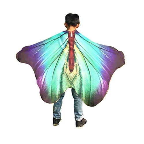 Kinder Schmetterling Schal 147*100CM,Loveso Kind Kinder Jungen Mädchen Schmetterling Flügel Schals Fairy Göttin Karneval Damen nympho Pixie Cosplay Weihnachten Kostüm Zusatz (147*100CM, (Mädchen Lila Pixie Kostüme)