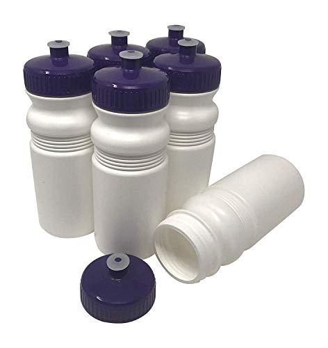 570 ml, BPA-frei, HDPE-Kunststoff, Bulk, 6er-Pack (20 Unzen, weiße Flasche, 63 mm lilafarbener Deckel) ()