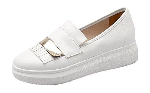 VogueZone009 Femme PU Cuir Tire Rond à Talon Bas Couleur Unie Chaussures Légeres Blanc