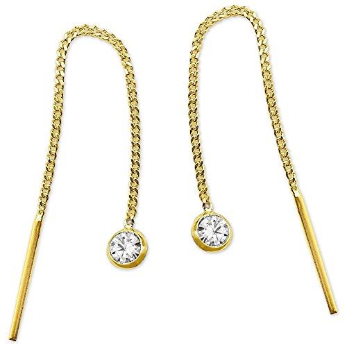Clever Schmuck Goldene Damen Ohrringe als Ohrdurchzieher ca. 55 mm lang mit Zirkonia weiß glänzend 333 GOLD 8 KARAT