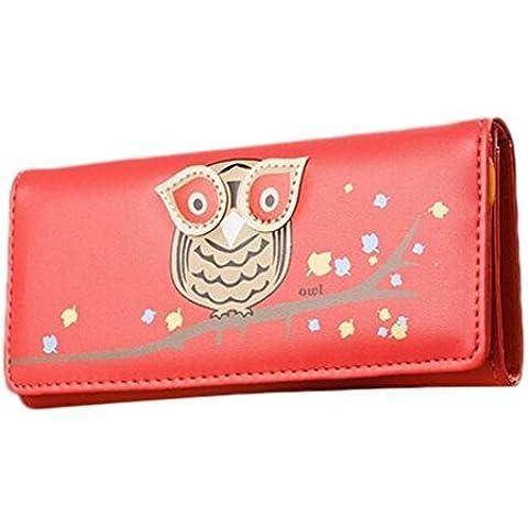 Moda mujeres encantadora Señora estilo carpeta Hasp buho bolsa bolso de embrague