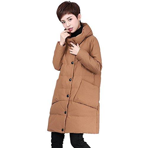 frauen daunenjacke mäntel stehkragen langarm tasche leichte warm winddicht dicker padded outwear . brown . l (Mantel Für Frauen, Canada)