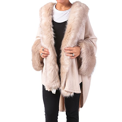 Mforshop mantella donna cappotto poncio poncho pelliccia eco giacca amd-sp501 (taglia unica, beige)