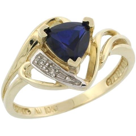 Revoni 9ct oro anello triangolare, W/Diamanti Taglio Brillante e zaffiro blu sintetico trillant taglio settembre Birthstone 6mm, 7/16in. (11mm di larghezza