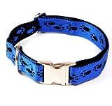 Hundehalsband, Alu-Max®, Soft Nylon, Blau, Schwarze Pfötchen, 45-70cm, 25mm, mit Zugentlastung