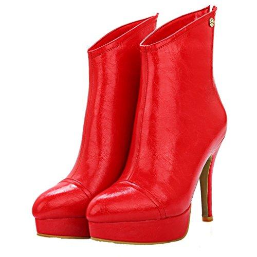 ENMAYER Frauen Synthetische Stiletto High Heel Stiefeletten Rot