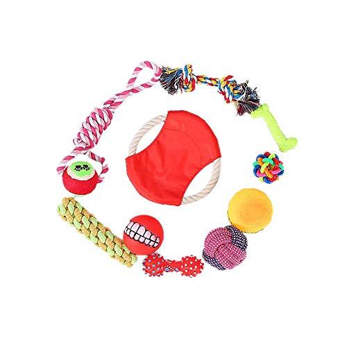 LOSVIP Hundespielzeug Kauspielzeug Interaktives Spielzeug Baumwollknoten Spielset Seil Spielzeug für Kleine mittlere große(Mehrfarbig,C)