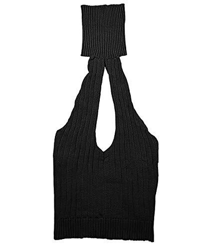 365-Shopping Damen Sexy Backless Open Back Cosplay Kostüm Knitting Turtle Neck Baggy Erotic Pullover Sweatshirt Sweater