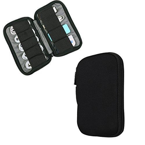 BUBM Estuche Mini para Ordenar USB Funda Suave para Proteger USB Perfectamente, Tamaño adecuerdo para llevar 9 Gomas Elásticas para Ajuestar USB, Negro