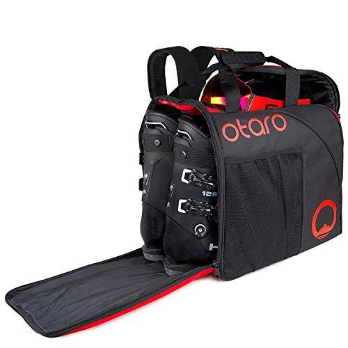OTARO ® Skischuhtasche mit Helmfach inkl. Rucksackträgern + Tragekomfort + Geräumiger Skischuhrucksack (55L) + Wasserfeste Skisack für Skistiefel (Junges Start Up Unterstützen) + Schlittschuhtasche