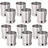 Sharda Metals Set Of 12 Stainless Steel Water Juice Glasses Set Dinning Table Accessories