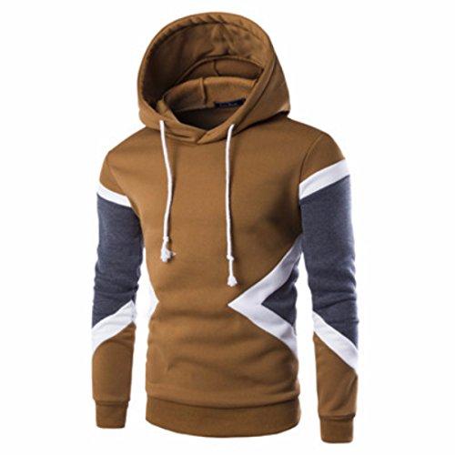 Men's Patchwork Fleece Slim Fit Casual Hoodie brown