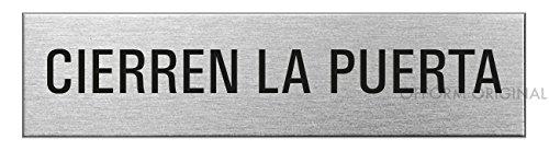 """Ofform Placa de puerta l Señal acero inoxidable con texto""""Cierren la Puerta"""" l 160x40 mm l No.8155"""