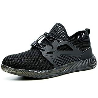 All-In-One-Safety Work Shoes Steel Toe Sicherheitsschuhe Herren Arbeitsschuhe Indestructible Air Boots Herren Bulletproof Sneakers Breathable (44, Black)