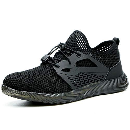 rk Shoes Steel Toe Sicherheitsschuhe Herren Arbeitsschuhe Indestructible Air Boots Herren Bulletproof Sneakers Breathable (42, Black) ()