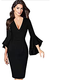 Robe de Soirée Robe Femmes Hiver Automne Printemps Femme Robes Pin-up Robe  De Soirée Robe Rockabilly Crayon Femmes Robe Deep V-Cou… 321be6fd55b2
