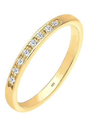 Diamore - anello da donna, fedina, oro giallo 585, con diamante (0,08 ct), brilante bianco, oro giallo, 12, colore: argento, cod. 0602142114_52