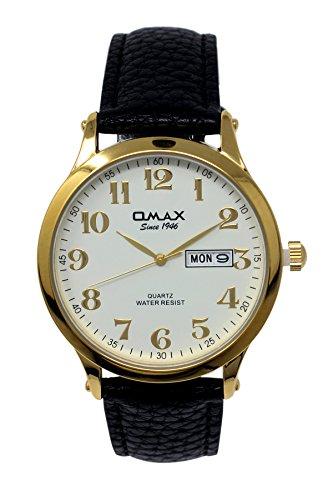 Omax Herren Gold mit weißem Zifferblatt Schwarzes Lederarmband Analoge Uhr Tag & Datum Haken Schnalle Verschluß Extra Batterie