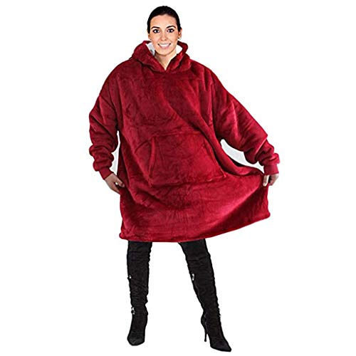 LXJ-LD Huggle Hoodie -Hooded Robe, Spa, Bademantel, Sweatshirt, Fleece, Pullover, Decke, Herren, Damen (Einheitsgröße),Red -
