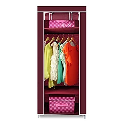 [2016 New Release] HST Mall Wooden Single Canvas Wardrobe with Hanging Rail Bedroom Furniture Storage Solution 174 x 69 x 43 cm Multiple color - inexpensive UK light shop.