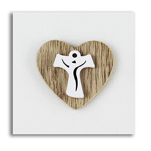 Dlm-27773 (kit 12 pezzi) calamita magnete cuore in legno croce tau crocetta confettata segnaposto bomboniera