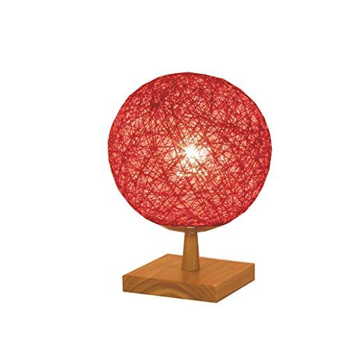 JIAHONG Lampada da tavolo sferica da comodino creativo, lampada notturna intrecciata pastorale, interruttore a pulsante E27 ( Color : Red )