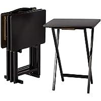 AmazonBasics – Juego de 4 mesas supletorias para comer frente a la televisión de estilo clásico con soporte, negro