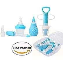 Kit de Higiene, Kidsmile 6 piezas BPA libre Niño bebéde Set Medical dispensador de la medicina, seguro-dosis gotero, aspirador nasal jeringuilla oidos / Set para el cuidado del bebé con la caja (Azul)