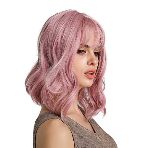 Sisit Fantasie-Rosa-Haar-Perücke der Frauen mit lockigem Blowable mittlerer Länge mit gummiertem Papier netperfect für Partei Cosplay und Kostüm 12 Zoll