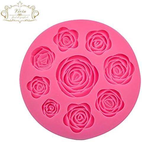 Vivin Rose Fiori Stampo Torta Decorazione Pasta di Zucchero Glassa di colore casuale