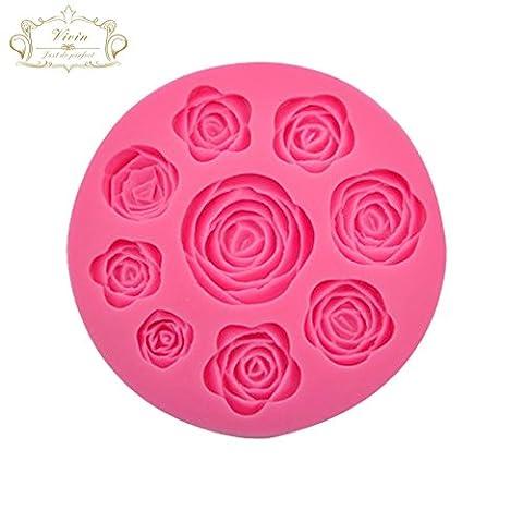 Vivin Moule à gâteaux en forme de roses Couleur aléatoire