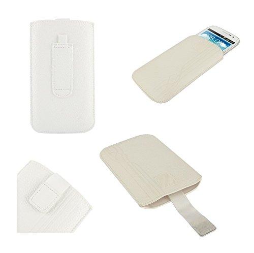 533 Quad (DFV mobile® - Pouch Case Lines Embossing & Belt Loop & Pull Tab Velcro for => Videocon Infinium Z40 Quad > White)
