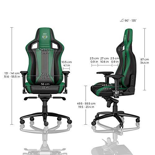Sedia da ufficio noblechairs EPIC Sedia da gaming Cuscino di sostegno lombare 120kg Sedia da scrivania Ecopelle PU 135/° reclinabile Bianco // Nero