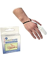 SIZE MEDIUM MEDISURE FIRSTAID PREMIUM ADJUSTABLE RE-USABLE MEDICAL PROTECTIVE WHITE LEATHER FINGER STALL by Medisure