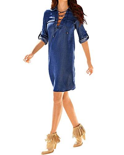 Styledome donna vestito abito corto camicia lunga jeans casual elegante cotone manica lunga ufficio blu it 56