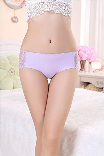 Bigood Lingerie Erotique Femme Coton Dentelle String Transparente Culotte Sans Couture Rose Violet