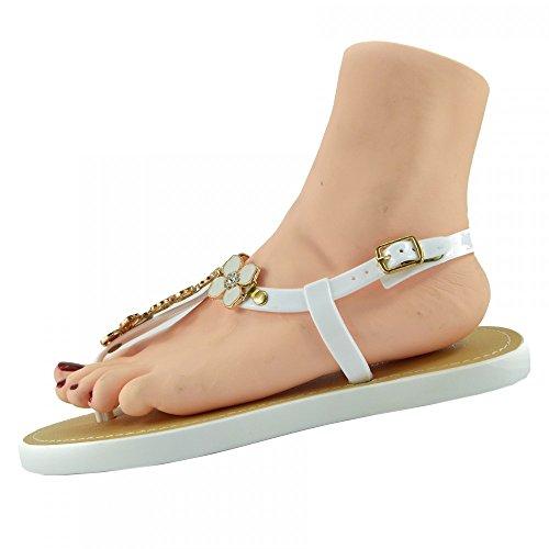 Kick Footwear - DAMEN FLACH GLADIATOR SOMMER STRAND FLIP-FLOP-URLAUB SANDALEN SCHUHE WHITE JELLY