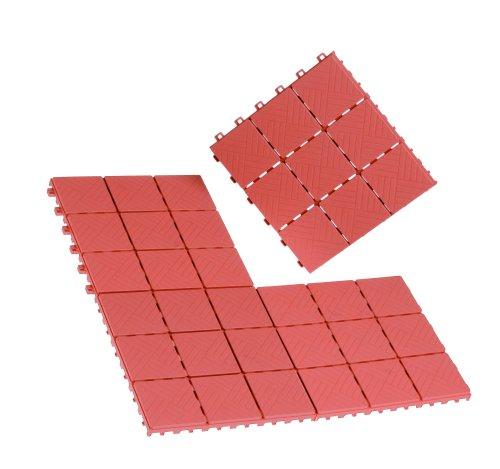 EASYmaxx 00569 Bodenfliesensystem in Terracotta-Optik | 12-tlg. aus PVC | Stecksystem, für Innen und Außen | witterungsbeständig, ergibt 1,08m²