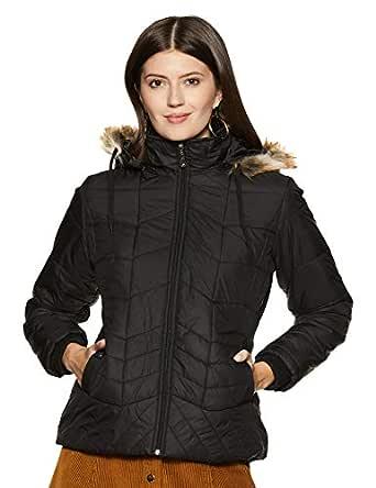 Cazibe Women's Quilted Jacket (89403BT_Black_M)
