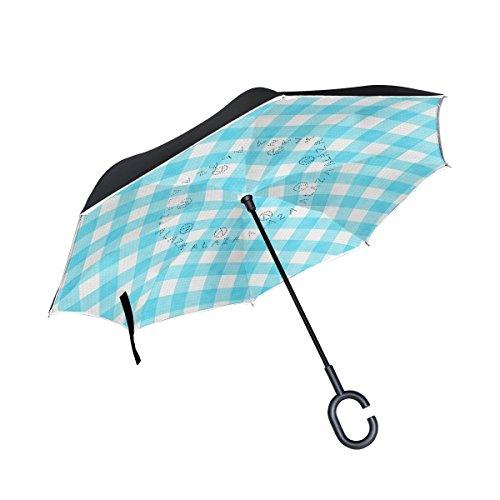 My Daily Double Layer seitenverkehrt Regenschirm Cars Rückseite Regenschirm blau Gingham Plaid Checkered Streifen winddicht UV Proof Reisen Outdoor Regenschirm (Plaid Blau Gingham)