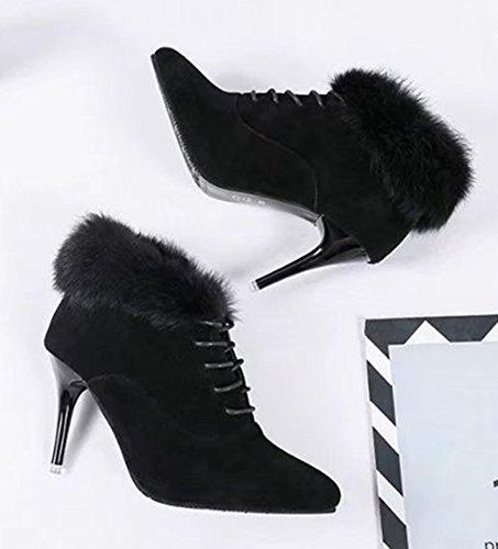 Aisun Femme Sexy Fourrure Pointues Talon Aiguille Cheville Bottines Noir